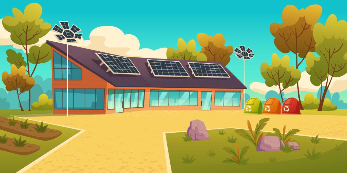 Napelem - napelemekkel felszerelt modern ház (Illusztráció: Freepik)
